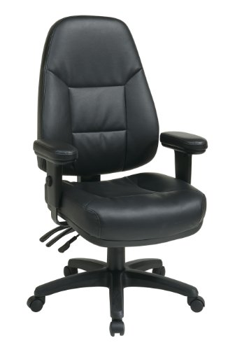 Office Star Professional Dual Function Ergonomic High Back Eco Leather Office Chair, Black Eco Leather Managers Chair