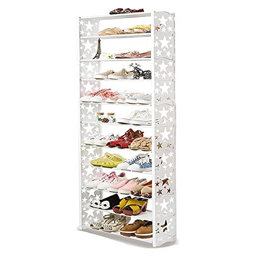 Zapatero pequeño 11 niveles de zapatos Estantes de almacenamiento apilables extensibles Estantes de la torre de zapatos para pasillo Cuarto de baño Sala de estar y pasillo Hall de entrada zapatero