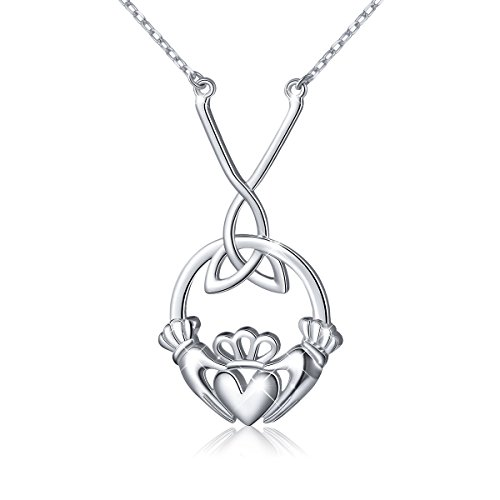 Ladytree S925 Sterling Silver Celtic Love by Kelly Hands Holding Crown Heart Claddagh Pendant Y Necklace