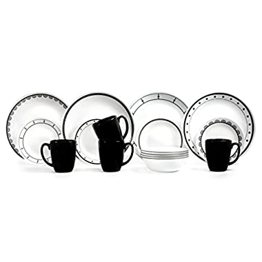 Corelle 16 Piece Vitrelle Glass Livingware Geometric Patterns Dinnerware Set, White and Black