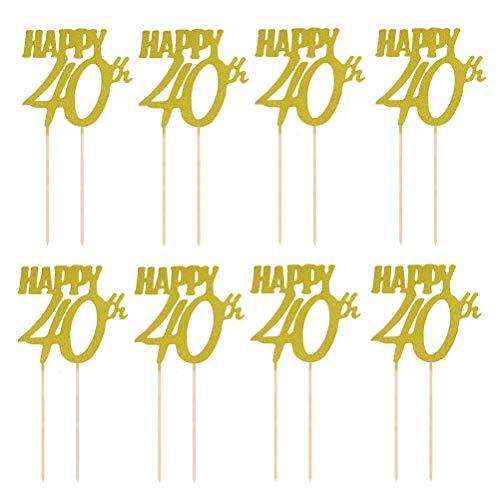 Amosfun Kuchen Topper Glitter Happy 40th Kuchendeckel 40. Geburtstag Jahrestag Kuchendekoration Party Zubehör 12 Stück (Golden)