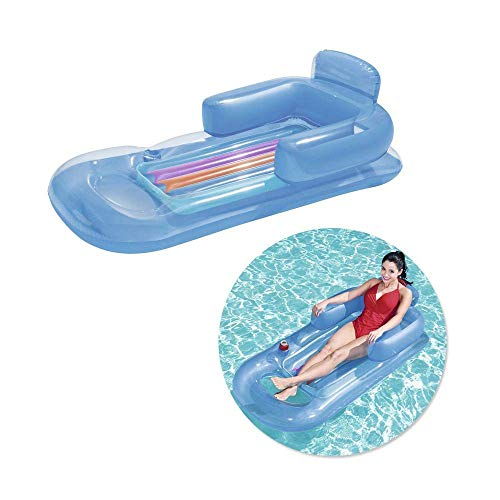 2PCS Swimming Pool Lounger Inflatable Lounge Floating, With Headrest and Cup Holder Recliner PVC Material, Summer Outdoor Swimming Pool Party,blue