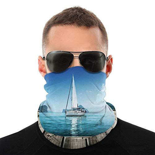 Quintion Robeson Yate Desde la Cubierta de Madera Horizon Serene Seascape Ocio Acuático Costero Tema Variedad Head Bufanda Hogar para Actividades al Aire Libre Pesca Deportes