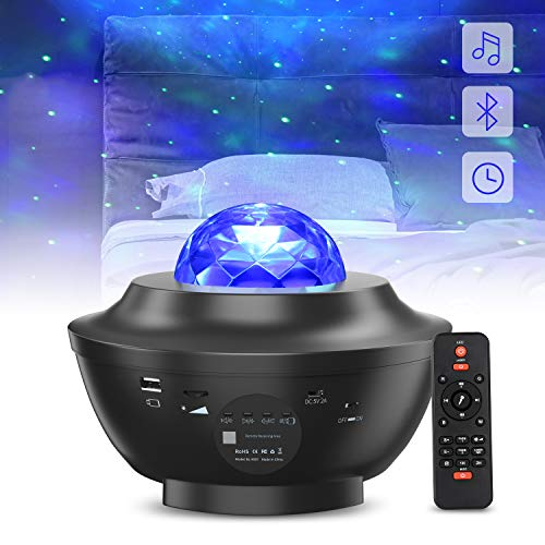 LED Sternenhimmel Projektor Nachtlicht, MAKEASY Bluetooth Musik Stimmungslicht mit Fernbedienung, 10 Lichtmodi, 3 Helligkeitsstufen, Timer Funktion, Projektorlampe für Kinder, Schlafzimmer, Party.