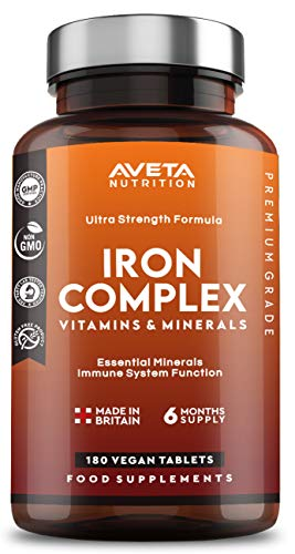 Iron Complex Tablets 180 Vegan Tablets Supports Cognitive Function and The Immune System Reduces Tiredness and Fatigue 6 Months Supply - Made in The UK