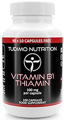 ? Vitamin B1 ? 100 mg ? Thiamin Capsules - 100 pcs (3+ Months Supply) of Rapidly Disintegrating Capsules, Each with 100mg of Premium Quality Thiamine Mononitrate Powder, by TUDIMO