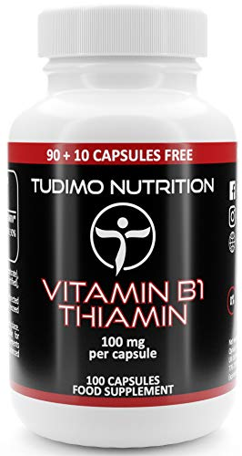 Vitamin B1 100 mg Thiamin Capsules - 100 pcs (3+ Month Supply) of Rapidly Disintegrating Capsules, Each with 100mg of Premium Quality Thiamine Mononitrate Powder, by TUDIMO