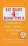 Eat Right for Blood Type B : Individual Food, Drink and Supplement Lists