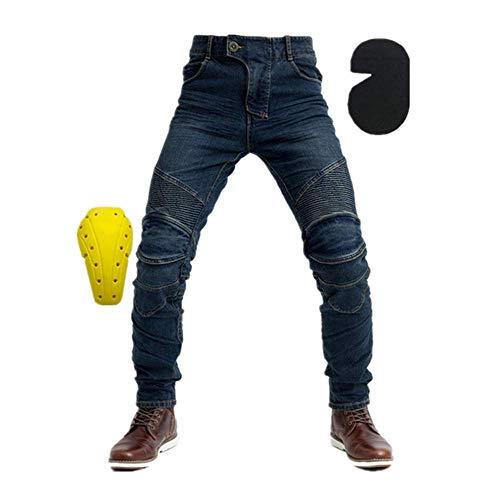 TIUTIU Vaqueros De Moto Para Caballero, Pantalones De Carreras Resistentes A Roturas, Con 4 Almohadillas Protectoras Desmontables (Blue,3XL)