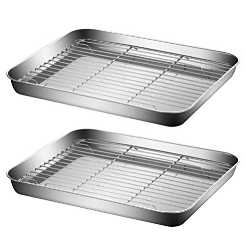 Cabilock 2 Sets Baking Sheet with Rack Fried Drain Net Pan Oven Grill Tray Pizza Crisper Barbecue Food Net Rack Frying Food Cooling Rack 26x20x2. 5cm
