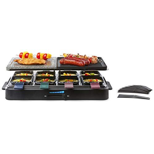MEDION MD 17168 Raclette Grill, Anti-Haft-Beschichtung, Uberhitzungsschutz, halb Platte- Stein Ausstattung, 1400 W, Schwarz
