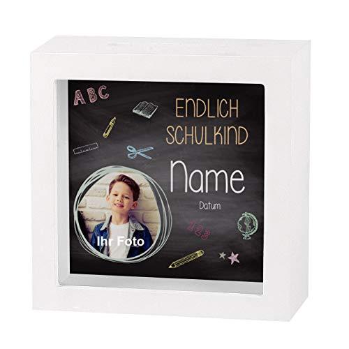 Striefchen® Geldgeschenk zur Schuleinführung EIN Bilderrahmen mit Geldschlitz als Spardose - Endlich Schulkind - mit Namen des Schulanfängers mit Foto