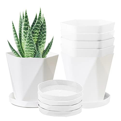 JSPYFITS Blumentopf aus Kunststoff, 6er-Set 16.5cm Moderner Atmungsaktiver Blumentöpfe und Untertassen Zimmerpflanzentopf mit Abflusslöchern(Groß Weiß)