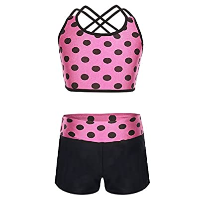YONGHS Kids Girls Two Piece Tankini Ballet Dance Gymnastic Outfits Criss Cross Back Tops with Bottoms Set Activewear Hot Pink 8