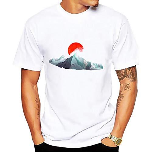 QSCESZ Himalaya Range T Shirt Homme Blanc Casual T-Shirts Respirant Design Tee Shirt Homme