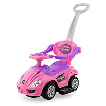 Best Choice Products Kids 3-in-1 Push and Pedal Car Toddler Ride On w/ Handle Horn Music - Pink