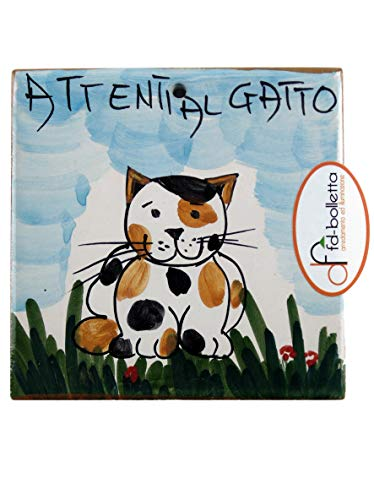 fd-bolletta arredamento e illuminazione Mattonella Ornamentale in Ceramica attenti al Gatto da Parete Dipinta a Mano ma4 Misure: H10cm,Larghezza 10cm, Lo Spessore può variare da 8mm a 13mm.
