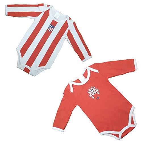 Set - 2 Bodys - Atlético de Madrid - Colores Originale, Nuevo Escudo - Producto Licenciado (3-6 Meses)