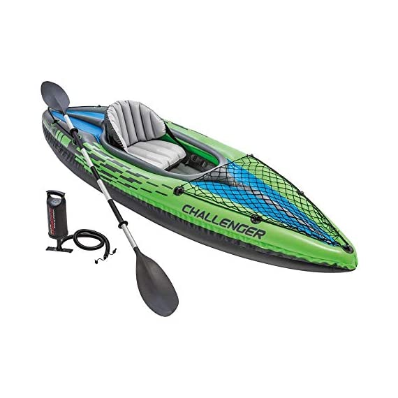 Intex Challenger Kayak Inflatable Set with Aluminum Oars 1 Nimble, durable kayak is made of durable welded material with eye catching graphics for added safety on the lake or slow moving river Cockpit is designed for comfort and maximized space, and inflatable I beam floors add stability Cargo net to store extra gear, and grab line on both ends of kayak; inflatable seat with backrest
