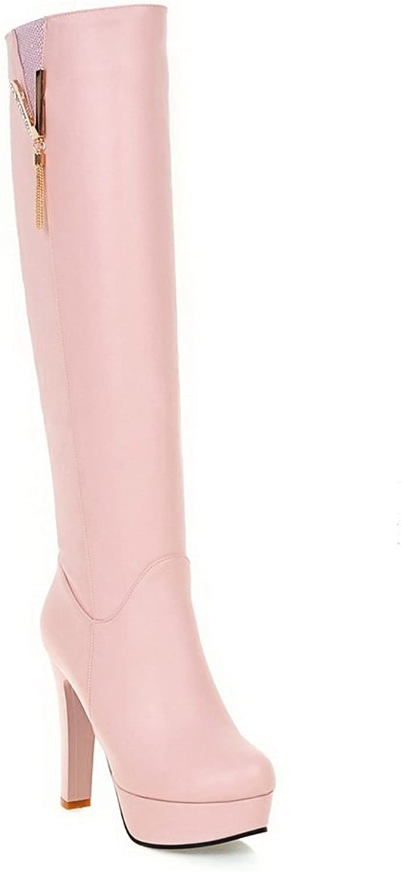 BalaMasa Womens Charms Chunky Heels Platform Urethane Boots