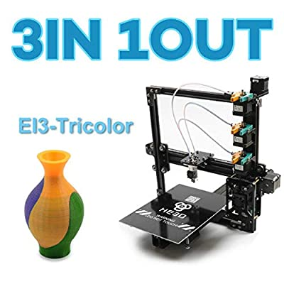 HE3D New upgrade EI3 tricolor DIY 3D printer kits, 3 in 1 out extruder,large printing size 200 * 280 * 200mm