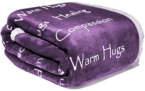 Compassion Blanket - Strength Courage Super Soft Warm Hugs, Get Well Gift Blanket Plush Healing Thoughts Positive Energy Love & Hope with Fluffy Comfort & Caring (50 x 65 Purple)
