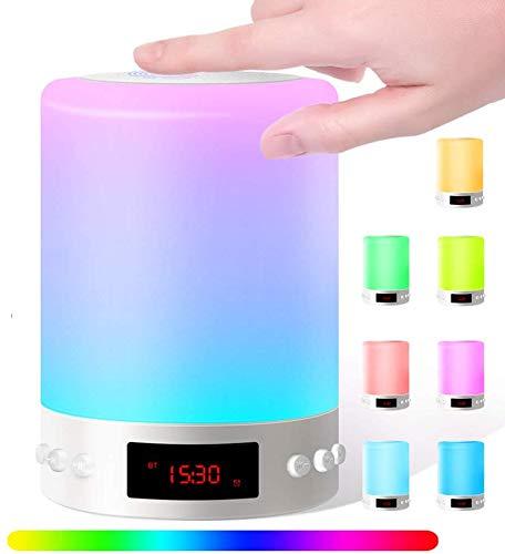 Swonuk Bluetooth Lautsprecher Lampe, 6in1 Nachttischlampe mit Lautsprecher USB Wiederaufladbar Touchlampe mit 12/24H Digital Wecker, Mit Haken, Stimmungslicht, Freisprechen, MP3-Player, Lautsprecher