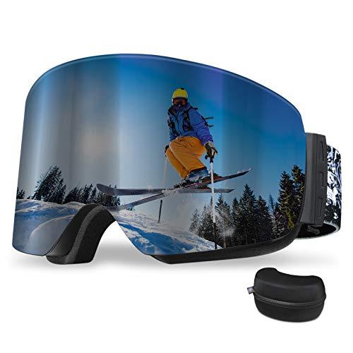 REDSTORM Gafas de Esquí de Versión 2021, gafas de esquí OTG, diseño panorámico de 180 °, gafas de esquí con luz antiniebla y anti-UV para esquí, escalada, ciclismo, deportes de mar