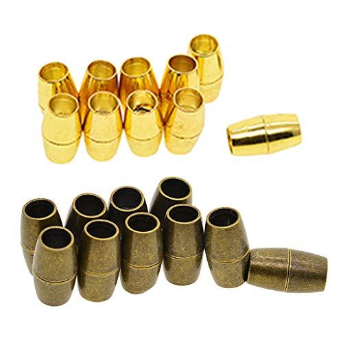 IPOTCH 20Pcs Golden BronzeTone Innenlochgröße 9mm Einkleb Magnetverschlüsse Für 6mm Kabel