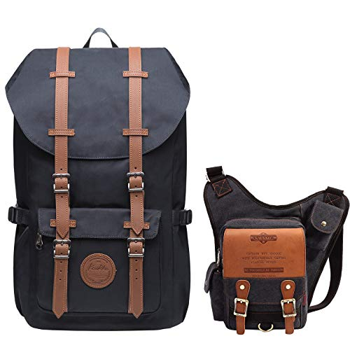 KAUKKO Laptop Outdoor Backpack, Traveling Rucksack | KAUKKO Canvas Shoulder...
