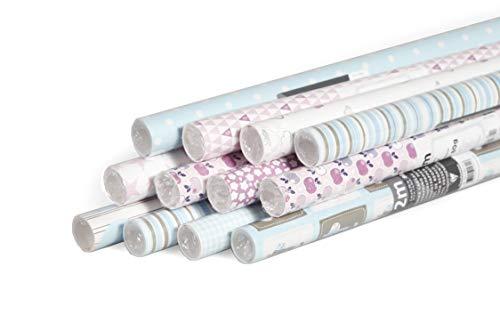 Clairefontaine 211415AMZC Karton mit 12 Rollen Geschenkpapier Excellia (2m x 0,70m, ideal für Kinder, 1 Karton, sortierte Designs)