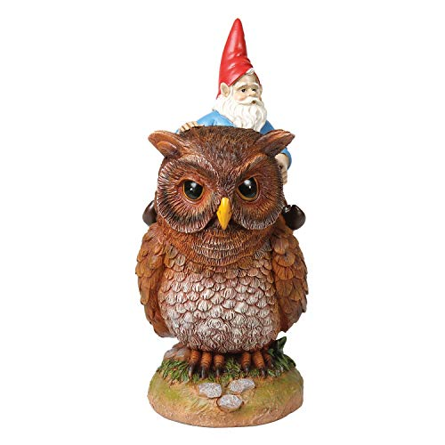 WHAT ON EARTH Owl Riding Garden Gnome Statue, Lawn Ornament Sculpture 9.5' H