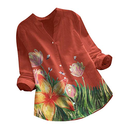 VEMOW Camiseta de Manga Ajustables Larga con Cuello Redondo y Estampado de Floral para Mujer Túnica Tops, Elegantes Moda Vintage Jacquard Botón Suelta Talla Grande Blusas Superior Camisas