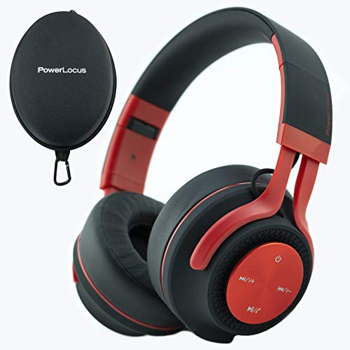 PowerLocus P3 Bluetooth Headphones Over-Ear, [40h Playtime, Bluetooth 5.0] Wireless Hi-Fi Stereo Headphone, Foldable with Mic, Deep Bass, Wired Mode for Cell Phones/Laptop/PC/TV (Matt Red) California
