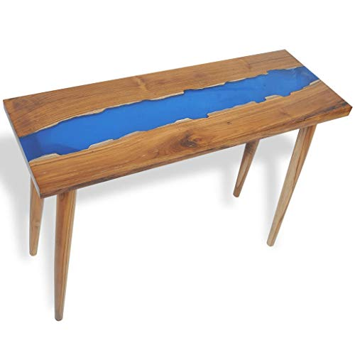 N / A vidaXL Konsolentisch mit Harzeinlage, Flurtisch, Beistelltisch, Dekotisch Sideboard für Eingang, Wohnzimmer, Flur, schmal, Braun und Blau, 100 x 35 x 75 cm