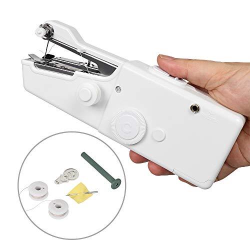 Máquina de coser, Mini Máquina de Coser Portátil para cortina, tela, Ropa o Tela de Niños con bobina adicional, aguja y enhebrador uso de viaje y casa (batería no incluida)