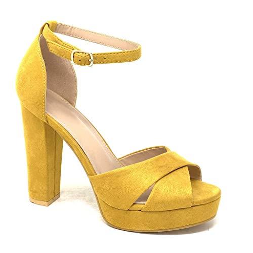 Angkorly - Damen Schuhe Pumpe Sandalen - High Heels - Plateauschuhe - Abend - gekreuzte Riemen - Basic Blockabsatz high Heel 11.5 cm - Gelb B-87 T 38