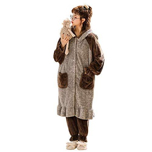 SDCVRE Pijama camisón de Invierno,Conjuntos de Camisones de Franela cálidos para el hogar de Invierno para Mujeres, Lindos Dibujos Animados, con Capucha, Gruesos, para niñas, Vestido de Noche, Ropa