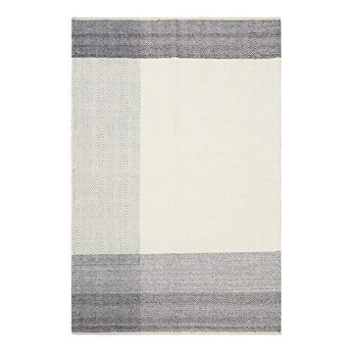 LMXJB omkeerbare wollen tapijt | Puur met de hand geweven crème en grijs geometrisch strepenpatroon | Modern Bürode tapijt of patio-placemats in de open lucht | Milieuvriendelijk, vuilafstotend 2×2.9m crème