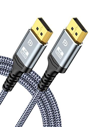 DisplayPort Kabel 2M, Snowkids 1,2 DP Kabel [4K @ 60Hz, 2K @ 165Hz, 2K @ 144Hz] Geflochtenes Ultra-Display-Anschlusskabel Hochgeschwindigkeits DP tu DP Kabel für 3D, Laptop, PC, Gaming-Monitor, TV