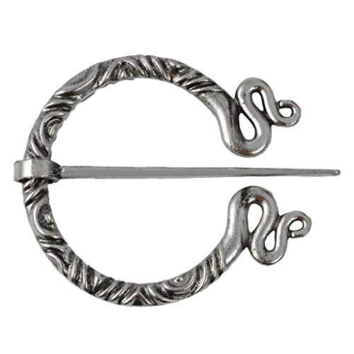 Bonarty Vikingo Pin De Capa Penanular Broche Celta Joyería Medieval Bufanda Chal Pin - Plata Antigua 3