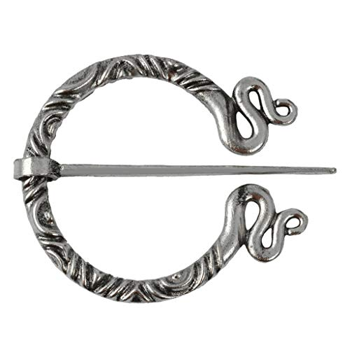 Bonarty Vintage Irish Viking Penannular Brooch, Clothes Fasteners - Zinc Alloy Cloak Pin, Shawl Pin, Scarf Pin, Norse Jewelry for Women Men - Antique Silver 3