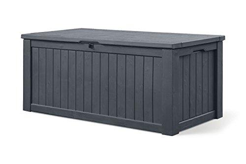 Koll Living Auflagenbox/Kissenbox 570 Liter l 100% Wasserdicht l mit Belüftung dadurch kein übler Geruch/Schimmel l Moderne Holzoptik l Deckel belastbar bis 250 KG (2 Personen) (Anthrazit) - 2
