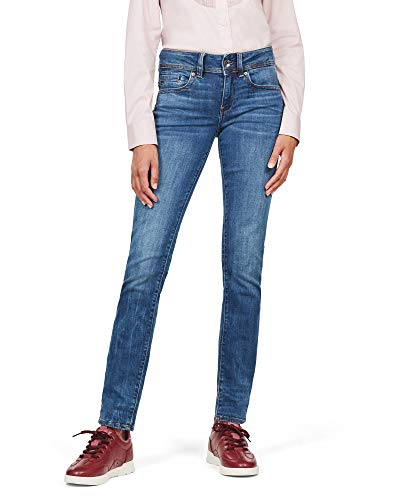 G-STAR RAW Midge Saddle Mid-Waist Straight' Jeans, Medium Indigo Aged, 36W / 28L Donna