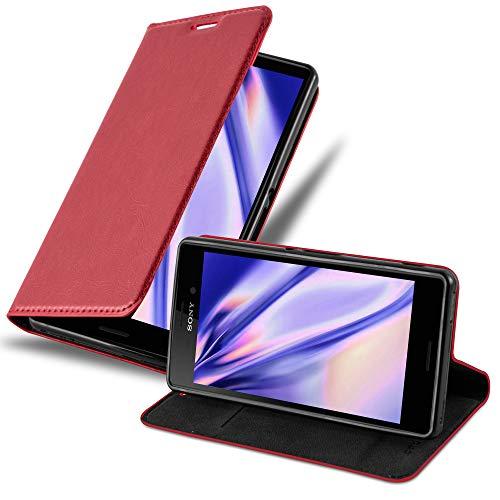 Cadorabo Hülle für Sony Xperia M4 Aqua - Hülle in Apfel ROT – Handyhülle mit Magnetverschluss, Standfunktion & Kartenfach - Hülle Cover Schutzhülle Etui Tasche Book Klapp Style