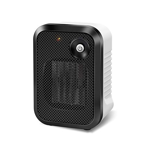 andily Space Heater Electric Heater for Home&Office Indoor Use Small Heater on Desk with Safety Power Switch PTC 500W white