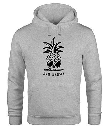 Neverless® Hoodie Herren Totenkopf Ananas Schriftzug Bad Karma Kapuzen-Pullover Männer Fashion Streetstyle grau L