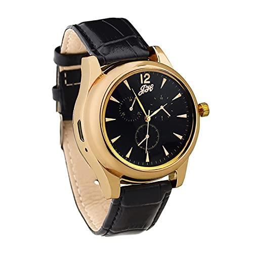 HOBEKOK Briquet Électrique Montre de Mode Cadran de Haute Précision Montre Enduite Miroir Bracelet en Cuir de Silicone Arc D'impulsion Créatif Allume-Cigare Personnalisé,Gold