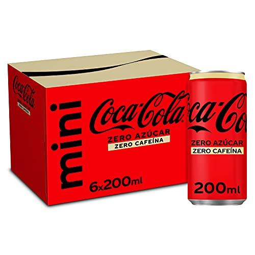 Coca-Cola Zero Azúcar Zero Cafeína - Refresco de cola sin azúcar, sin calorías, sin cafeína - pack 6 minilatas 200 ml