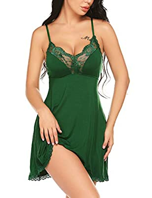 ADOME Women Lingerie Lace Sleepwear Modal Nightgown Full Slips Lace Trimmed Chemise V Neck Babydoll Nighty Mini Dress Dark Green S
